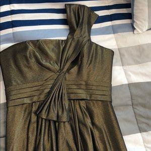 Bcbg maxazria one shoulder bronze dress with slit